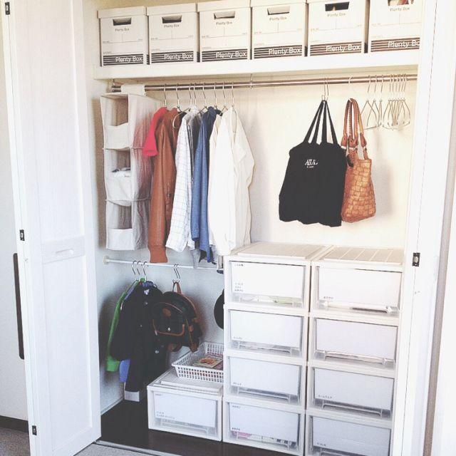 miyako.さんの、部屋全体,無印良品,クローゼット,100均,シンプル,整理収納,のお部屋写真