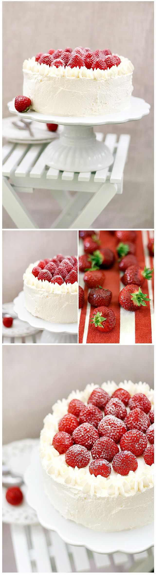 A decorating idea for a simple white cake.  Pretty!