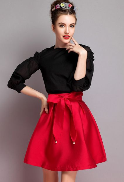 Shop Red High Waist Flare Skirt online. Sheinside offers Red High Waist Flare Skirt & more to fit your fashionable needs. Free Shipping Worldwide!