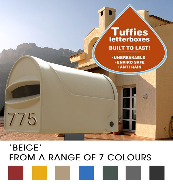 Tuffies #Letterboxes are unbreakable!  They take A4 mail & help keep your mail dry!  They also resist colour fading!