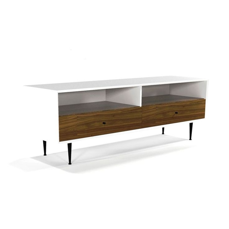 This media console allows you to display your TV and media setup in modern style. Featuring a smooth rectangular design with black-finished steel legs, the piece has storage space for all of your entertainment essentials from your cable box to that hidden stash of '90s sitcom DVDs.