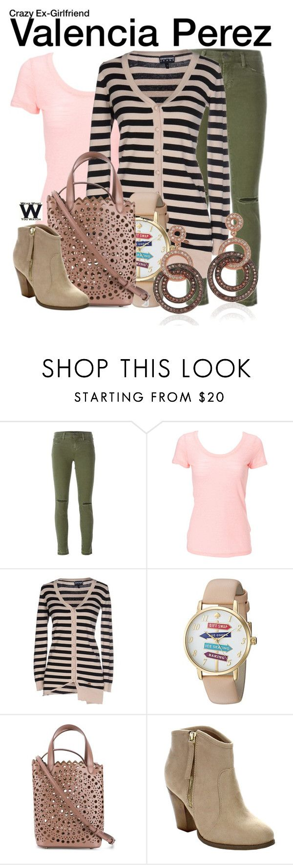 """Crazy Ex-Girlfriend"" by wearwhatyouwatch ❤ liked on Polyvore featuring J Brand, Simplex Apparel, Armani Jeans, Kate Spade, Alaïa, Liliana, Suzy Levian, television and wearwhatyouwatch"