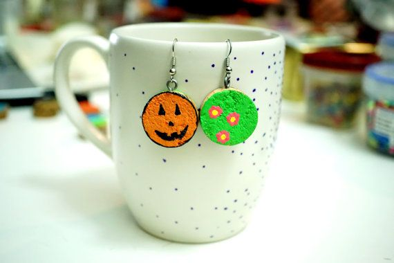 Recycled Wine Cork Earrings - Two Sided - Orange Pumpkin Halloween Face and Pink Flowers on Bright Green