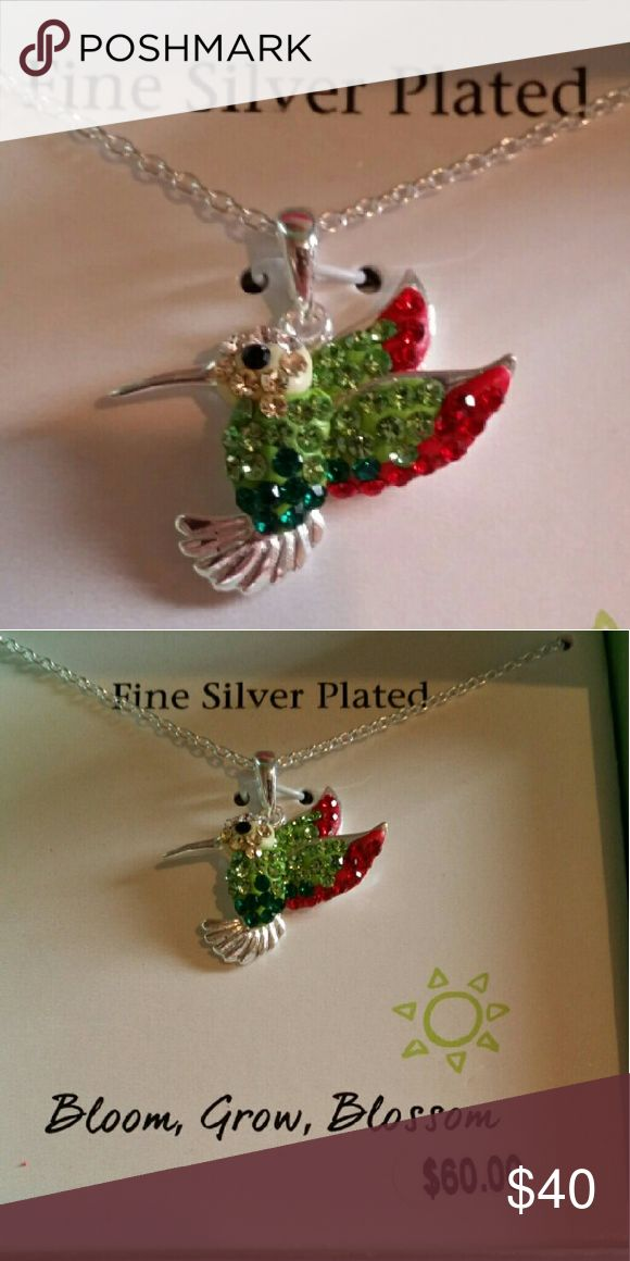 "SILVER HUMMINGBIRD NECLACE Colorful 18"" Hummingbird Necklace.  Made with Fine Silver and brilliant crystals.  Given to me as a gift and never wore it.  Still in it's original box. Jewelry Necklaces"