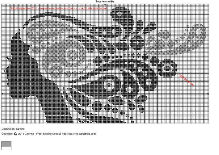 0 point de croix monochrome profil de fille - cross stitch profile, girl's face