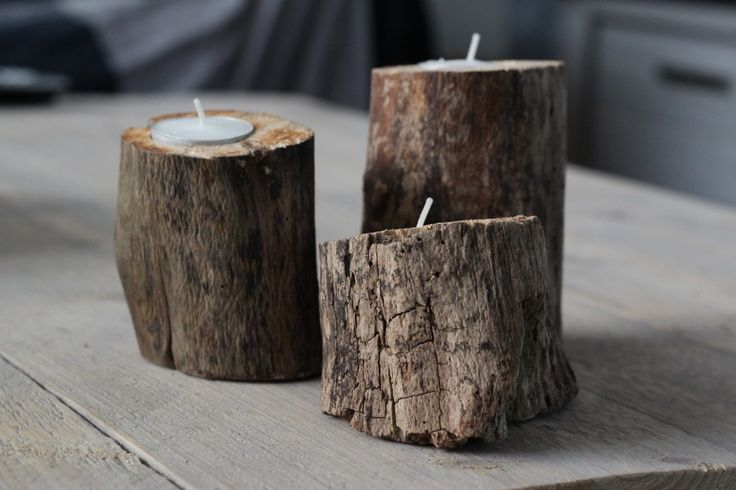 Kaarsenhouder van tak #decoration #home #interior #waxinelichthouders #candles #wood #natural #DIY