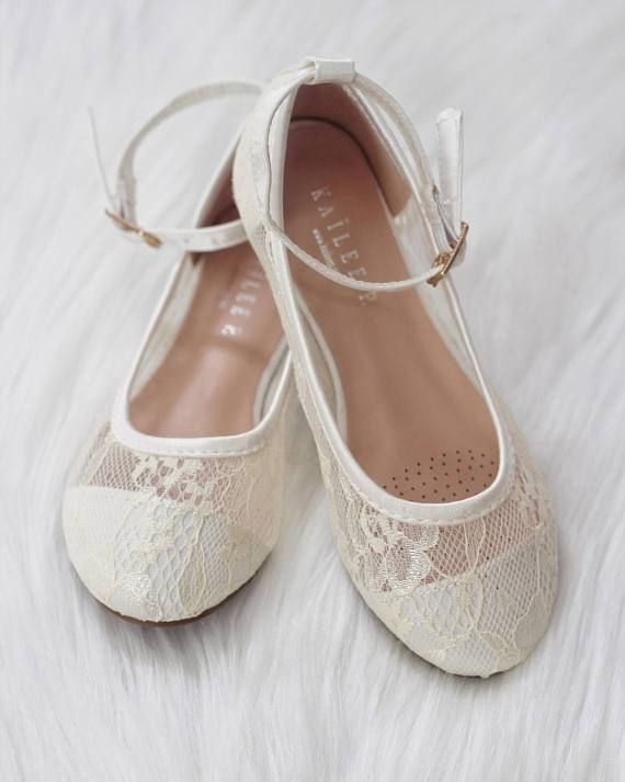 b14eb3bc5 Girls Shoes - Ivory New Lace Ballet Flats With Ankle Strap