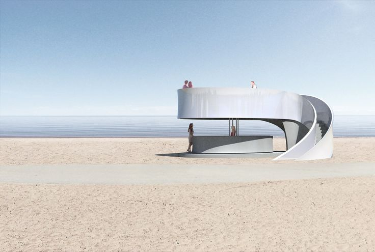 The kiosk differentiates from the traditional closed kiosk by allowing the public to interact and climb atop the structure; the openness contrasts with the traditional open front shelter.  — DM Studio | London, England — Chicago Architecture Biennial Lakefront Kiosk Competition