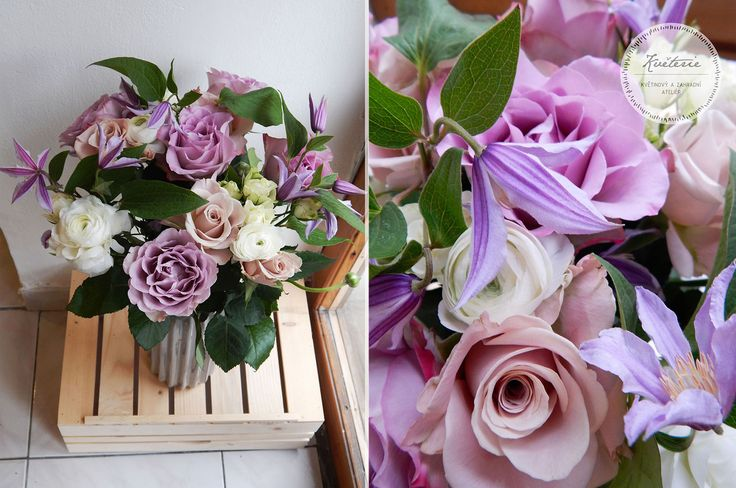 white ranunculus, lila memory lane roses, menta roses and clematis bouquet