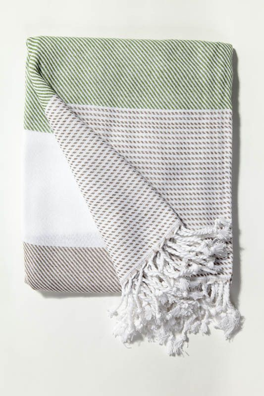 Ottoloom Malibu Turkish towel in Sage Grey. Hand loomed with 100% GOTS certified organic cotton.