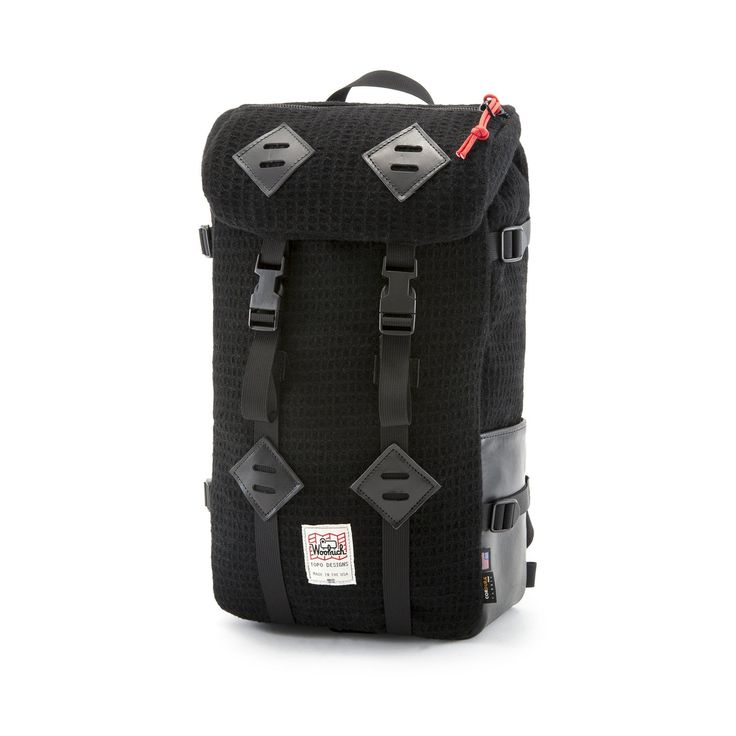 Expanding their popular Klettersack bag line, Topo brings you a new twist on the leather hybrid bags made with Waffle Woolrich Wool for warmth and style. Outdoor Brands, Black Backpack, Natural Leather, Laptop Sleeves, Bag Making, Sale Items, Hiking, Backpacks, Design