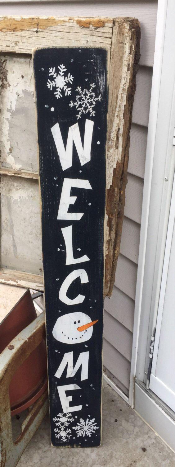 Snowman decor, front porch sign, tall sign, primitive, welcome, winter decor, winter sign, pallet, Christmas https://www.etsy.com/listing/487143641/snoman-welcome-christmas-decor-winter