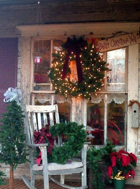 Christmas in the country porch yard decor pinterest for Country christmas decorations for front porch