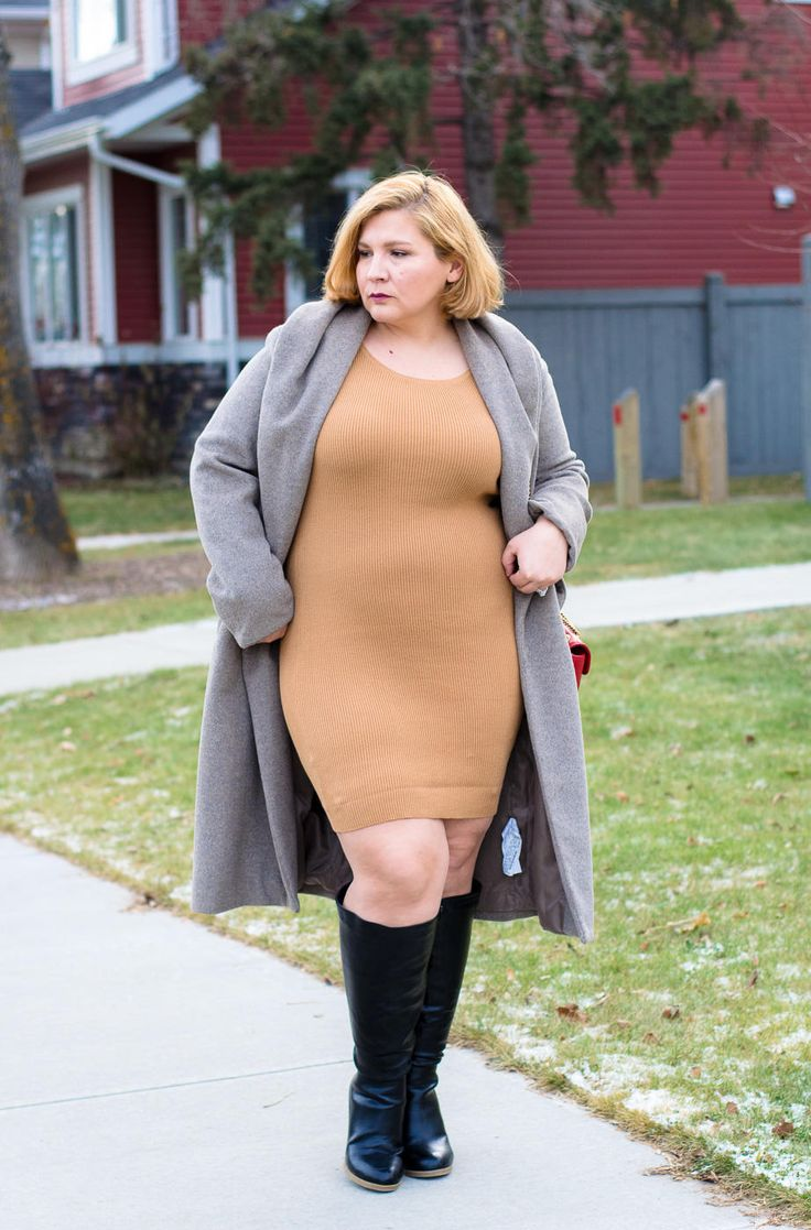 Bodycon dress, beige coat, fall outfit, fall fashion, plus size, curvy fashion blogger,