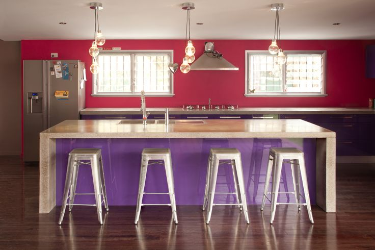 Colourful!! Pink and purple kitchen with Concreate concrete island bench, waterfall edge