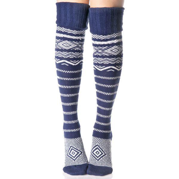 La Mer Thigh High Socks featuring polyvore, women's fashion, clothing, intimates, hosiery, socks, thigh high socks, white socks, thick socks, navy socks and white hosiery