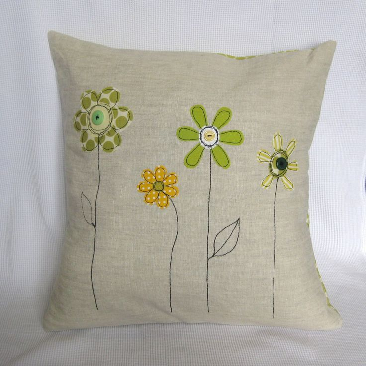 Cushion cover yellow and green spring flowers: by tailorbirds