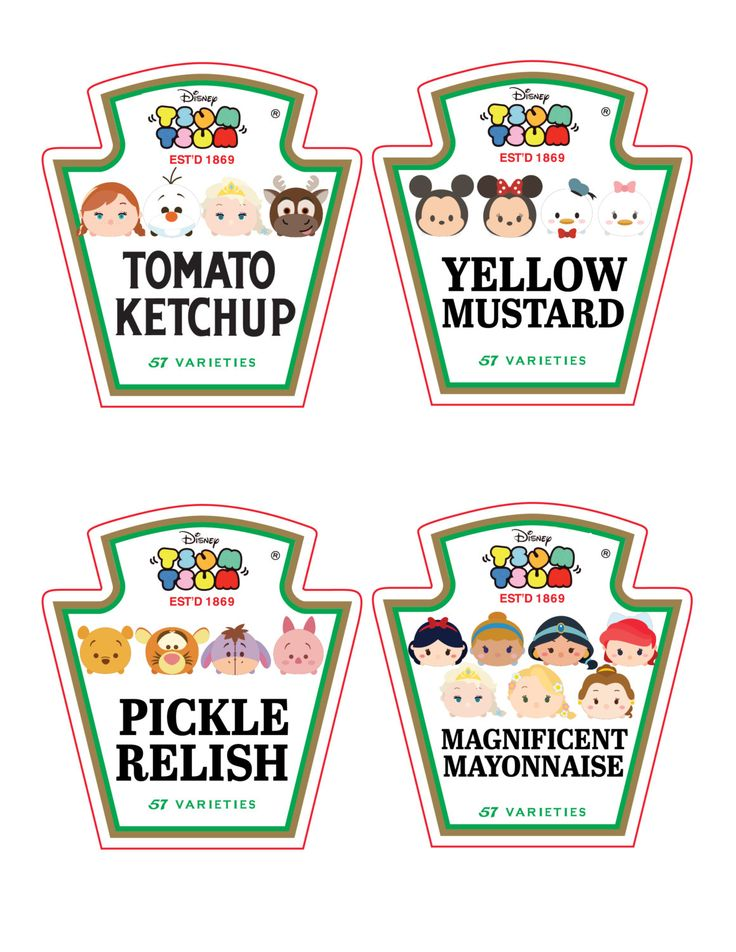 Tsum Tsum Ketchup, Mustard, Mayo and Relish Bottle Labels These Tsum condiment labels are perfect for your Custom Tsum Tsum Birthday Party! Sure to please all the kiddos! These labels fit Heinz 20 ounce squeeze bottles or even same shaped generic 20 ounce condiment squeeze bottles. You get all 4 labels pictured on one 8.5 x 11.0 standard sheet. Need a different size or different characters? Just contact me. Please read the Terms of Use in the Policies section before purchase. This is a di...