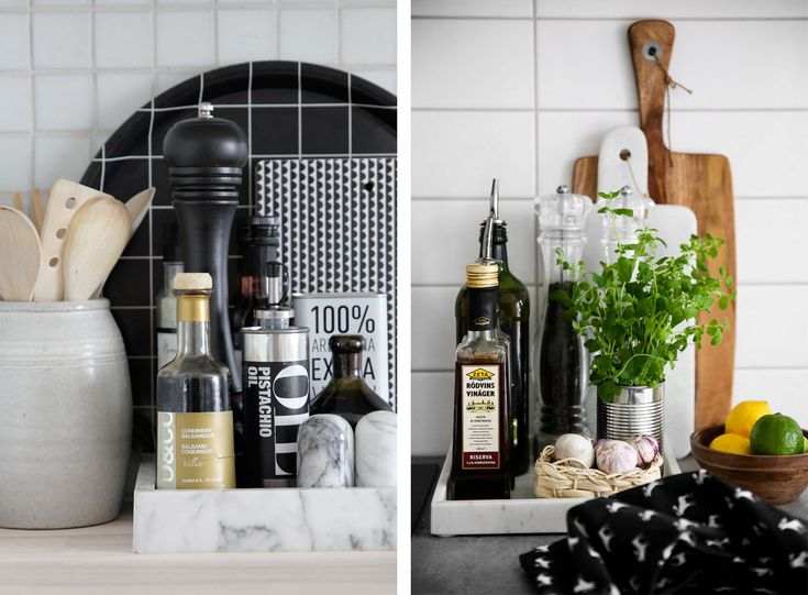 Kitchen Tray Vignettes, a great way to keep clutter contained!