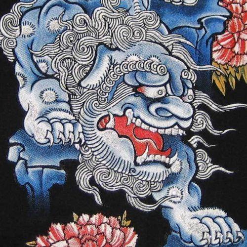 Okinawa-SHISA-LION-New-RONIN-Japan-Tokyo-Yakuza-T-shirt-S-Small-Black-BNWT