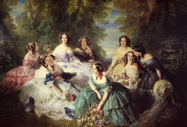 Franz Xaver Winterhalter  The Empress Eugenie surrounded by her ladies in waiting.1855  파티용 의상뿐만 아니라 아침, 오후, 저녁 등 이 시대의 여성들은 시간과 장소에 따라 수시로 옷을 갈아입었다고 한다. 거기에다가 옷과 관련된 모자, 장갑, 숄, 보석류 등도 물론이었다. 당시 여성들의 사치는 로코코시대 베르샤유 궁전보다 더 하기도 했다. 이 당시의 의상들은 실용화되기 시작한 재봉틀의 덕택으로 섬세한 주름과 프릴이 특징이다. 아름답고 사랑스러우며, 부드럽고 얇은 원단을 사용했다.