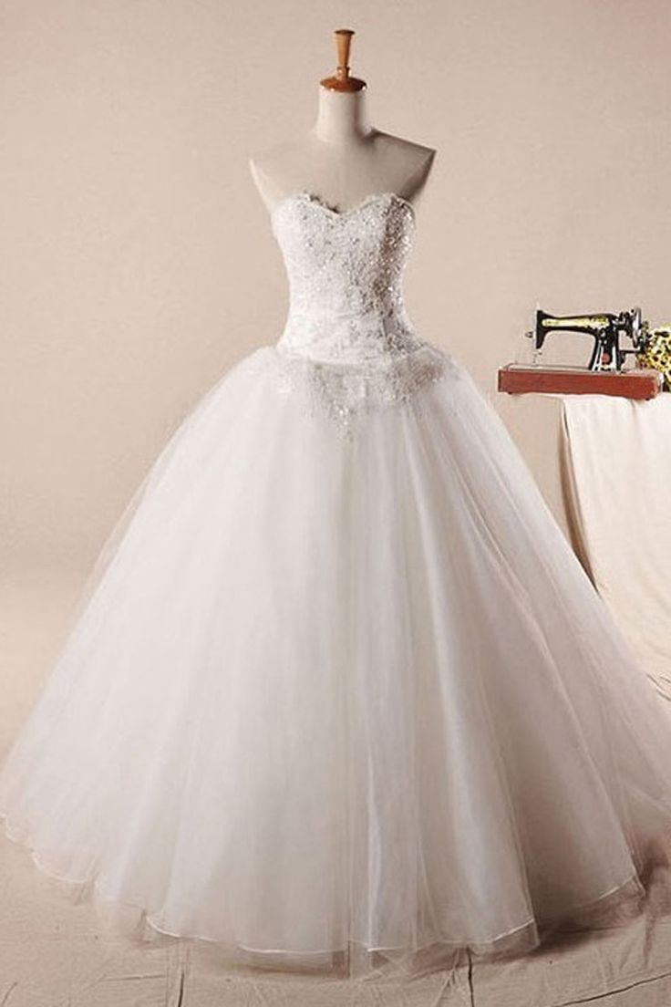 Real sample ball gown wedding dress with beaded lace, buy it now.