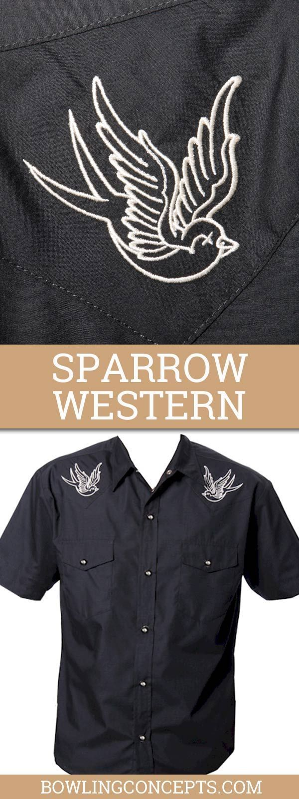 Men's Rockabilly Western Shirt  -- Black & White -- Sparrows are Embroidered on the Front Black Yokes -- 20% Cotton, 80% Polyester -- Variegated Snaps -- One Button Front Pockets