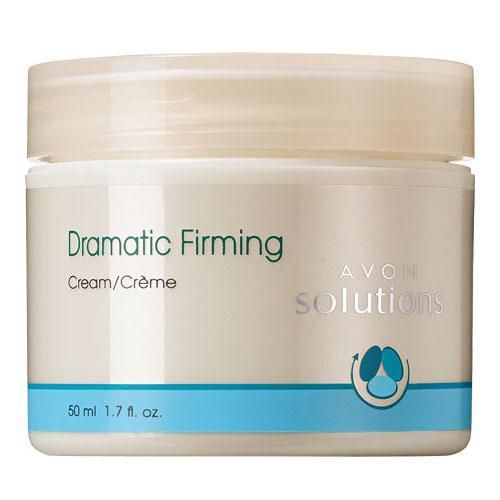 Give your skin its youthful, tight look back by trying Avon Solutions Dramatic Firming Cream. The special formula, containing vitamin E, carrot, apricot, and arnica oil, works to return skin's healthy elasticity. This lightweight skin care cream controls wrinkles while simultaneously moisturizing your face. Goes on smoothly, doesn't affect sensitive skin, and doesn't dry out skin. Comes in a 1.7 fl oz container.BENEFITS• Moisturizes, firms and smoothes skin with Vitamin E and Vita...
