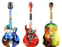 Colourful guitars