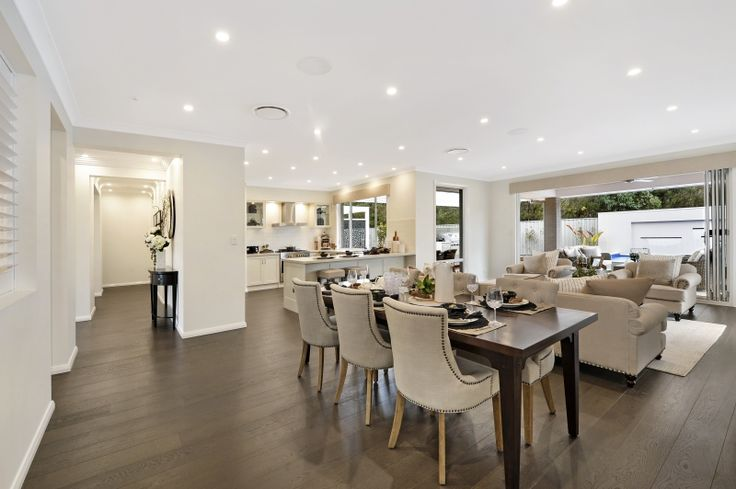 Striking Hamptons styling in the heart of the home of the Bronte Executive Grande Manor One on display in Braemar. For details see http://mcdonaldjoneshomes.com.au/display-home-locations/braemar #hamptons #Hampton #design #interiordesign #interiorstyle #interiorstyling #dining #living #lighting #alfresco #kitchen #indooroutdoor #style #décor #decorate #decorating #styling #interiors