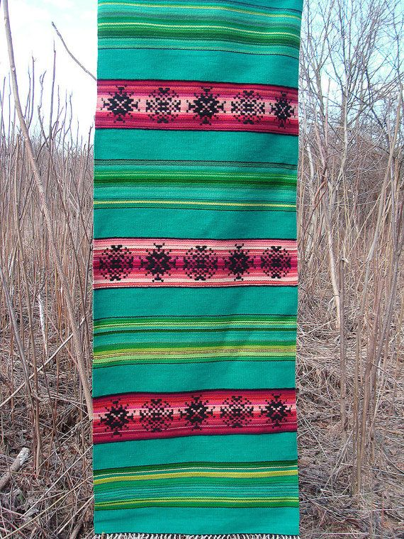 Handwoven striped turquoise rug with ornaments kilim by RugsNBags