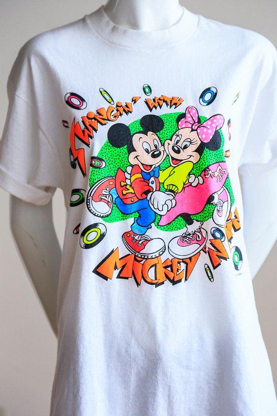 fd685dcdbb34 80s Neon Mickey Minnie T-Shirt | Disney Graphic T-Shirt | Disney  Collectible Shirt | Valentines Day T-Shirt | 80's T -Shirt | Fluorescent