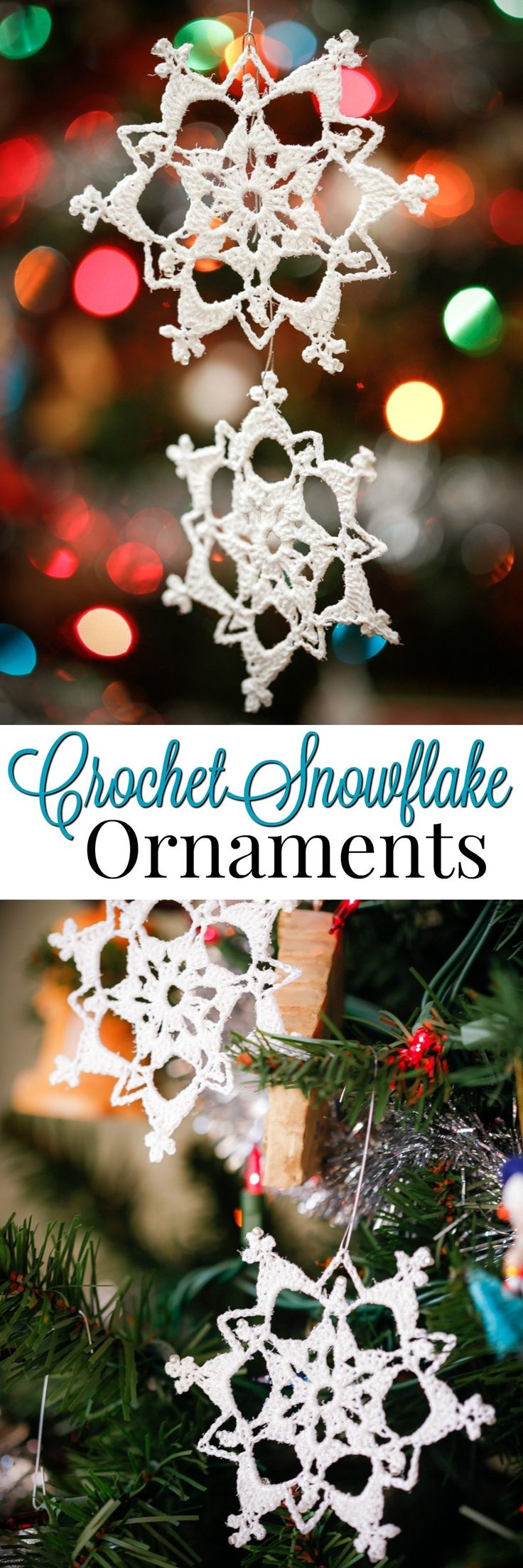 Learn to crochet beautiful Glittering Lace Crochet Snowflake Ornaments! Step by Step crochet pattern with photos make this an easy handmade ornament via @2creatememories