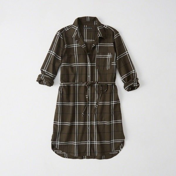 Abercrombie & Fitch Long-Sleeve Shirtdress ($41) ❤ liked on Polyvore featuring dresses, olive plaid, long sleeve plaid dress, olive shirt dress, long sleeve dress, shirt dress and petite shirt dress
