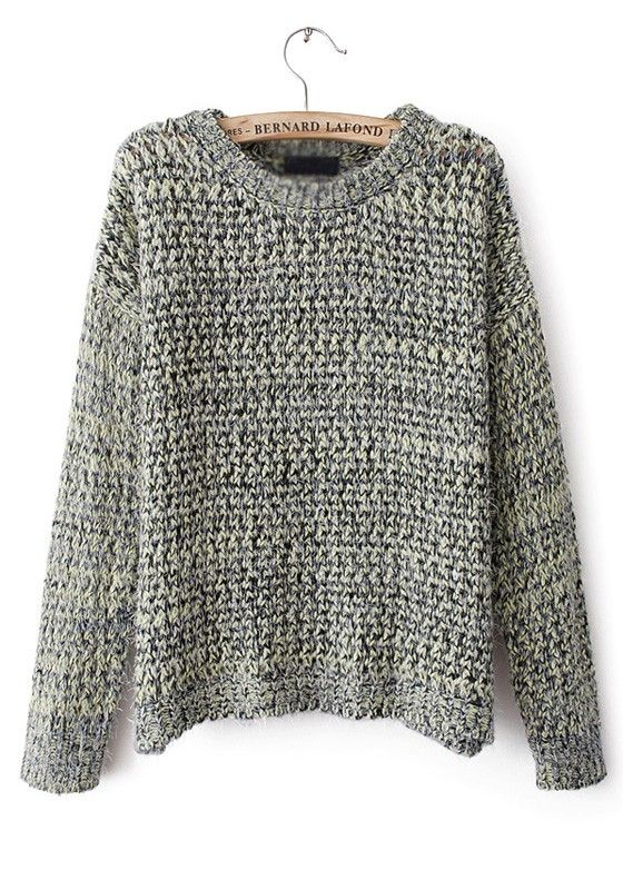 Green Plain Straight Round Neck Wool Blend Sweater