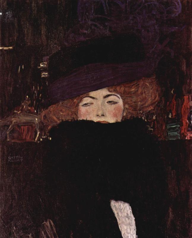 Дама в шляпе и боа из перьев