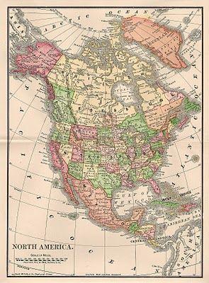 -CatnipStudioCollage-: Free Vintage Clip Art - Map of North America 1901