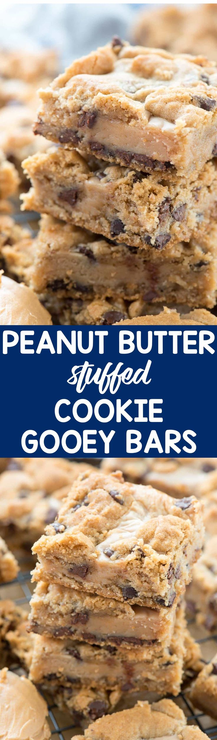 Gooey Peanut Butter Chocolate Chip Cookie Bars - An easy chocolate chip cookie bar stuffed with a gooey peanut butter mixture. This is such an easy recipe and EVERYONE loved them!