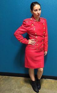 80s Vintage Michael Hoban North Beach Leather Red Military Dress Fashion Week | eBay