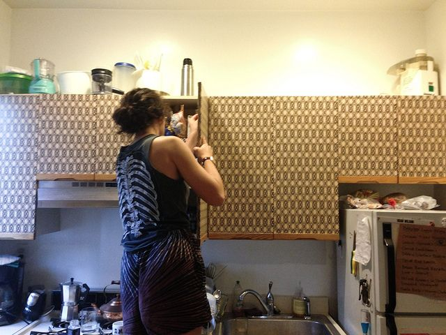 DIY Kitchen Cabinet Makeover for Renters by Stacie Stacie Stacie, via Flickr