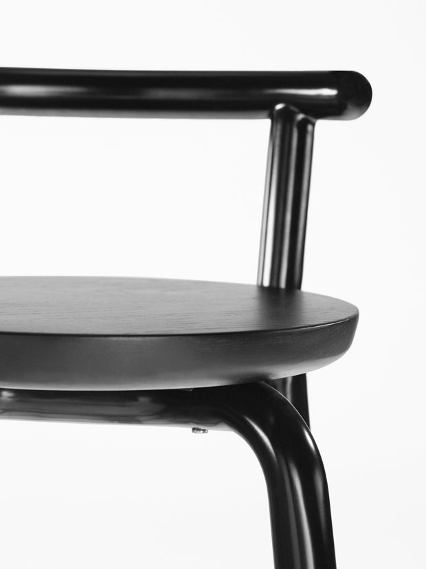 Derlot Editions - Picket is a colourful collection of tables, chairs and stools available in a range of sizes and finishes. Picket legs, made from stainless steel, can be ordered in a range of powder coat colours and metal finishes. The collection's table, seat and bench tops are available in stained or natural timber or black / white recyclable plastic. Seats also include upholstered options.
