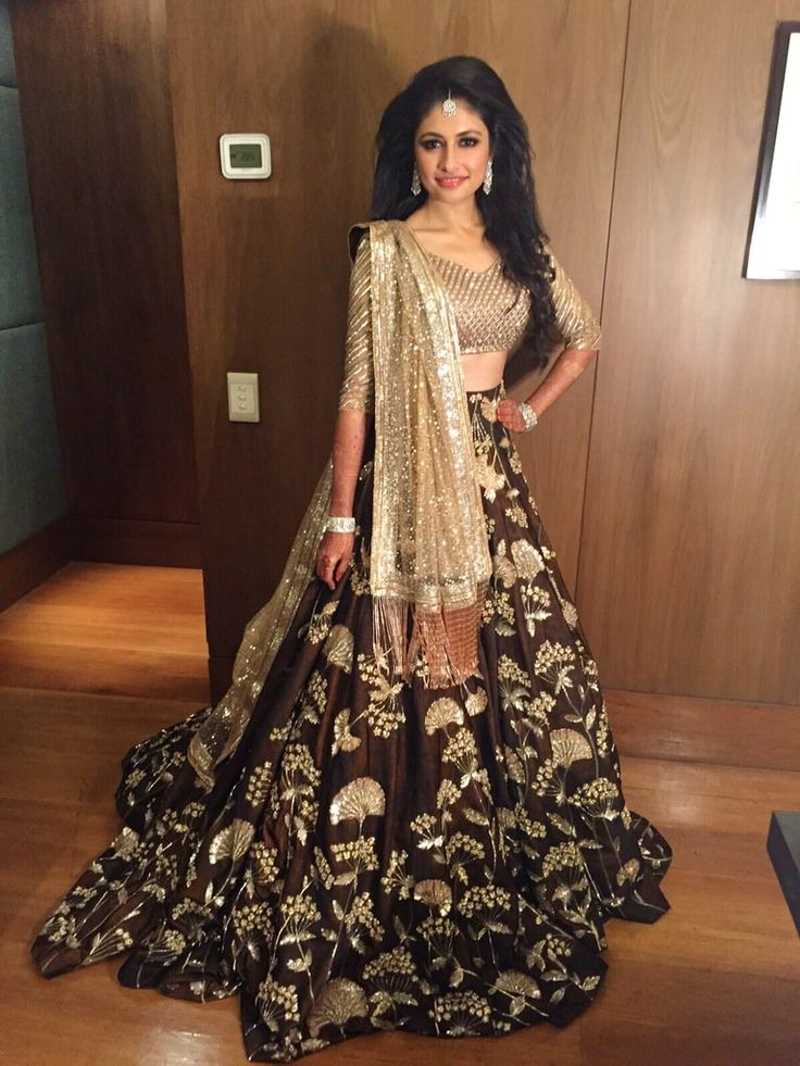 Chocolate brown and gold lengha