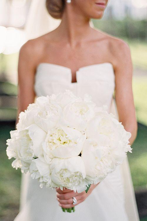 A white peony bridal bouquet | @katbraman | Brides.com