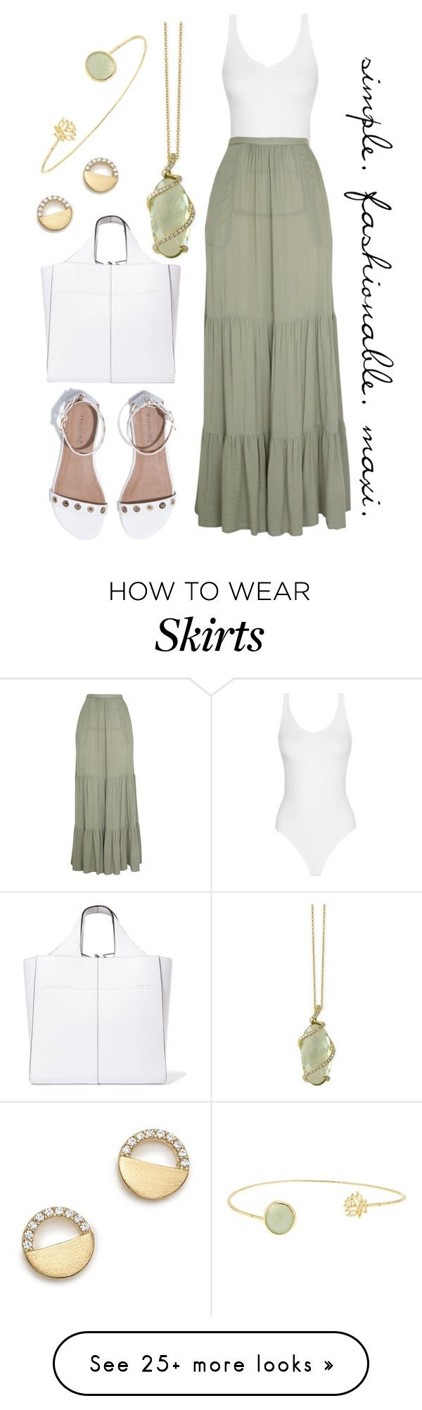 """""""OOTD: Olive Maxi Skirt"""" by ledawnat on Polyvore featuring Effy Jewelry, Victoria Beckham, Luella, Bloomingdale's, Sapanyu, maxiskirt, longSkirt and contestentry"""