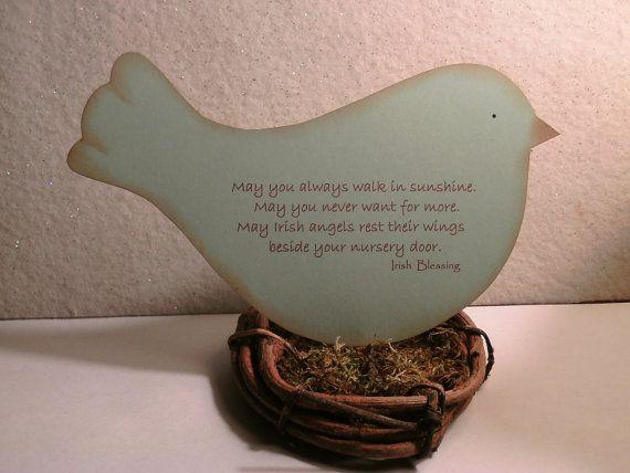 Irish Blessing for baby  bird in nest  Irish by GiftBagsBySusan, $6.00