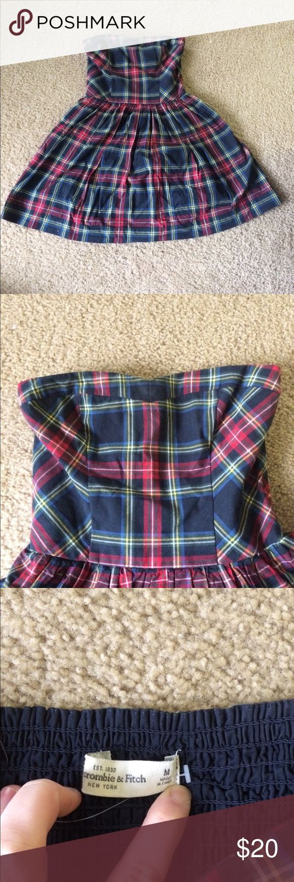 Plaid Abercrombie and Fitch dress Plaid strapless Abercrombie and Fitch dress with removable ribbon around waist. Ruched on back to allow for a right yet comfortable fit and flared at bottom Abercrombie & Fitch Dresses Mini
