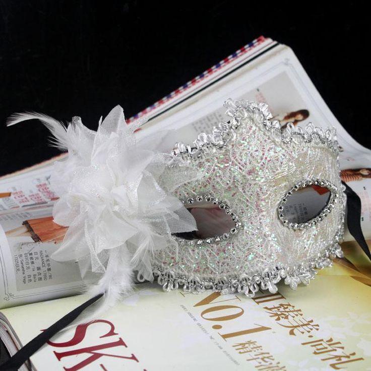 2013 new fashion exquisite lace rhinestone leather mask lily flower mask venetian masquerade ball decoration wedding supply-inParty Masks fr...