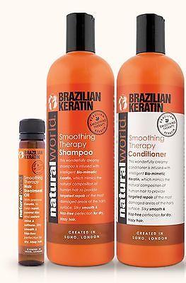 Mundo Natural Con Queratina Brasileña Shampoo, Acondicionador 500ml + Gratis Cabello 25ml de aceite de
