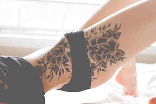 Thigh Tattoo Later Incorporated Into Side Location   Wrist Tattoos Center