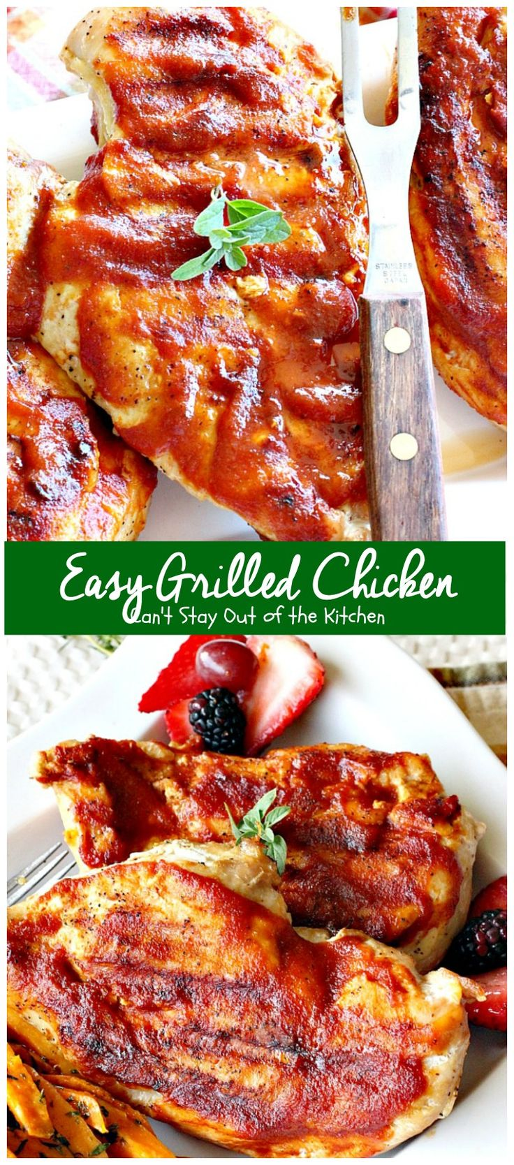 Easy Grilled Chicken | Can't Stay Out of the Kitchen | Easy & delicious 3-ingredient #chicken entree with a homemade #BBQ sauce. #glutenfree